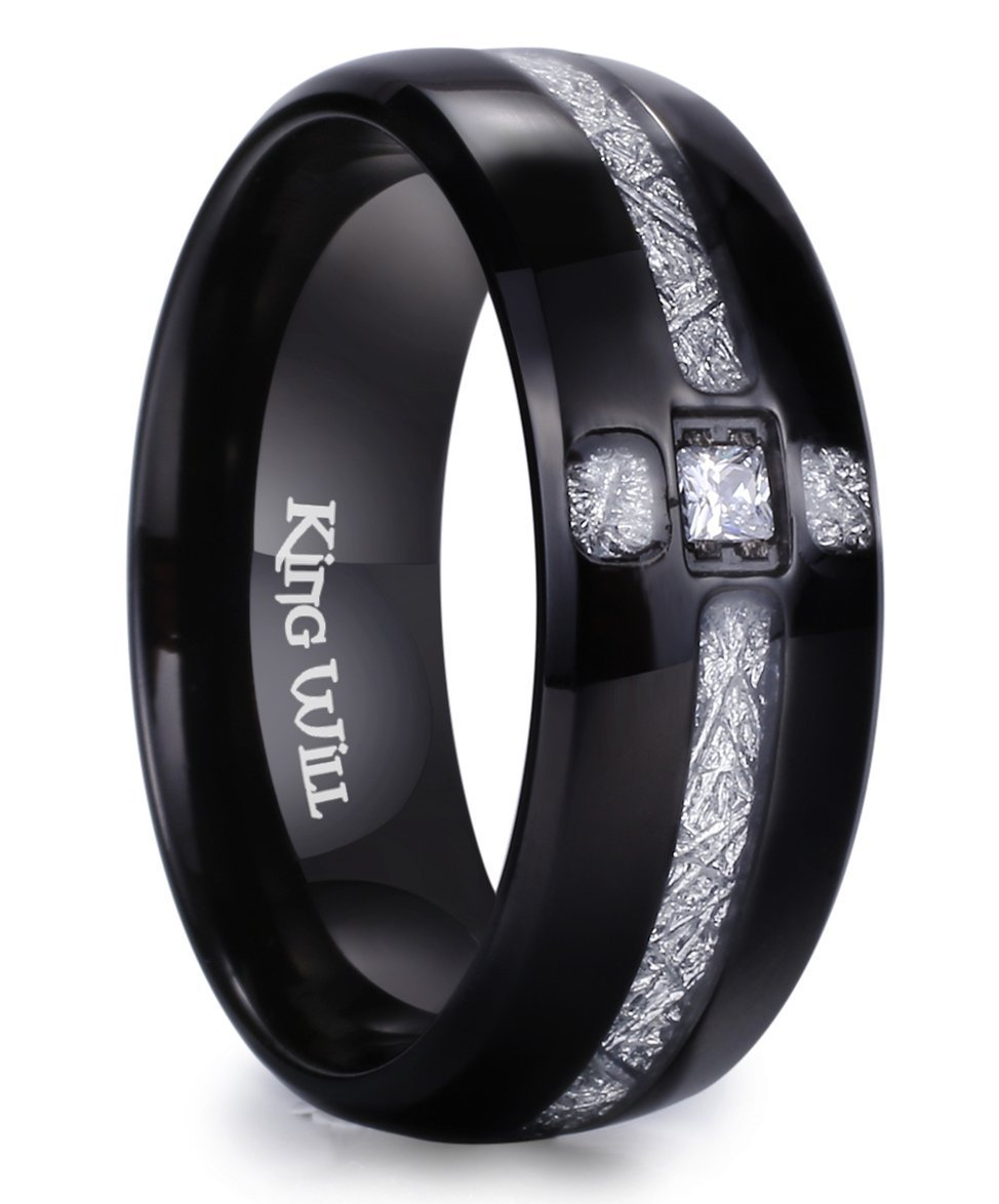 King Will Meteor 8mm Black Titanium Ring Cubic Zirconia and Meteorites Inlay Design Wedding Band12.5