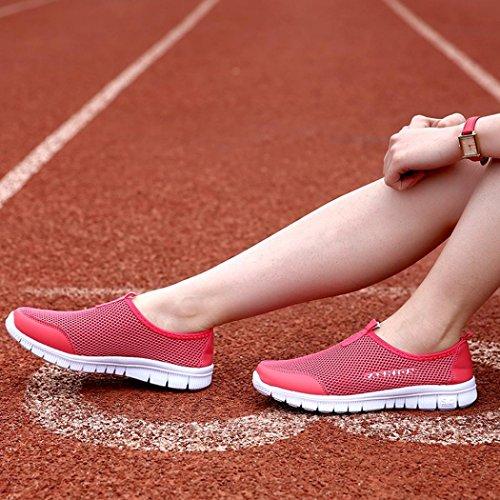 Merceditas QinMM Verano Malla Transpirable Rojo Mocasines de Alpargatas Respirable de Mujer Zapatillas Zapatos Sandalias Cxwv7Bq