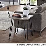 Sonoma Oak/Gunmetal Grey - Owen Retro End Table - Perfect Place to Set Your Cocktails or Place a Lamp for a Cozy Reading Space