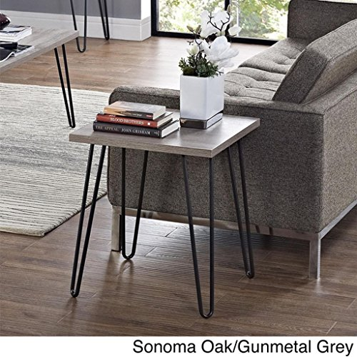 (Sonoma Oak/Gunmetal Grey - Owen Retro End Table - Perfect Place to Set Your Cocktails or Place a Lamp for a Cozy Reading Space)