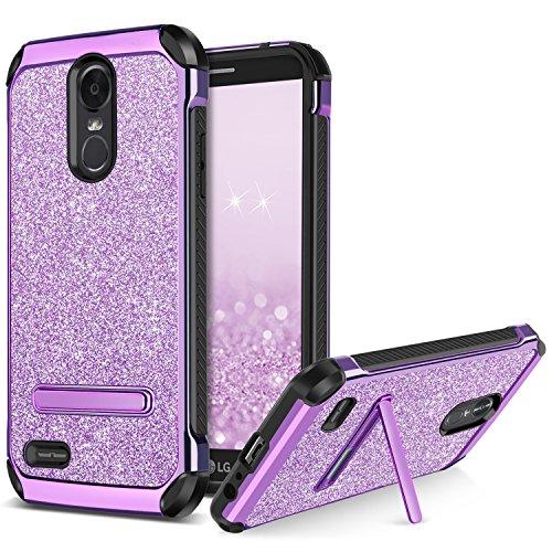 BENTOBEN LG Stylus 3 Case,LG Stylo 3 Case,LG Stylo 3 Plus Case,Girls Women Glitter Sparkly 2 in 1 Hard PC Soft TPU Bumper Shockproof Protective LG LS777 Case with Kickstand for Girls Women,Purple
