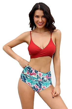 0466176feb SHEKINI Womens Bathing Suits Printing Bottoms Push Up Bikini Two Piece  Swimsuits (Rose Red -