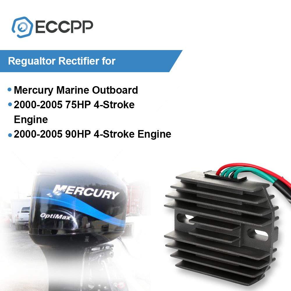 ECCPP Voltage Regulator Rectifier Fit for Mercury Marine Outboard 2000-2005 75HP 4-Stroke Engine 2000-2005 90HP 4-Stroke Engine 804278A12 Rectifier Regulator
