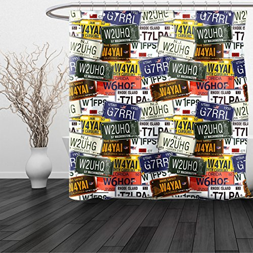 HAIXIA Shower Curtain USA Retro American Auto License Plates Utah Washington Rhode Island North Carolina Print Multicolor