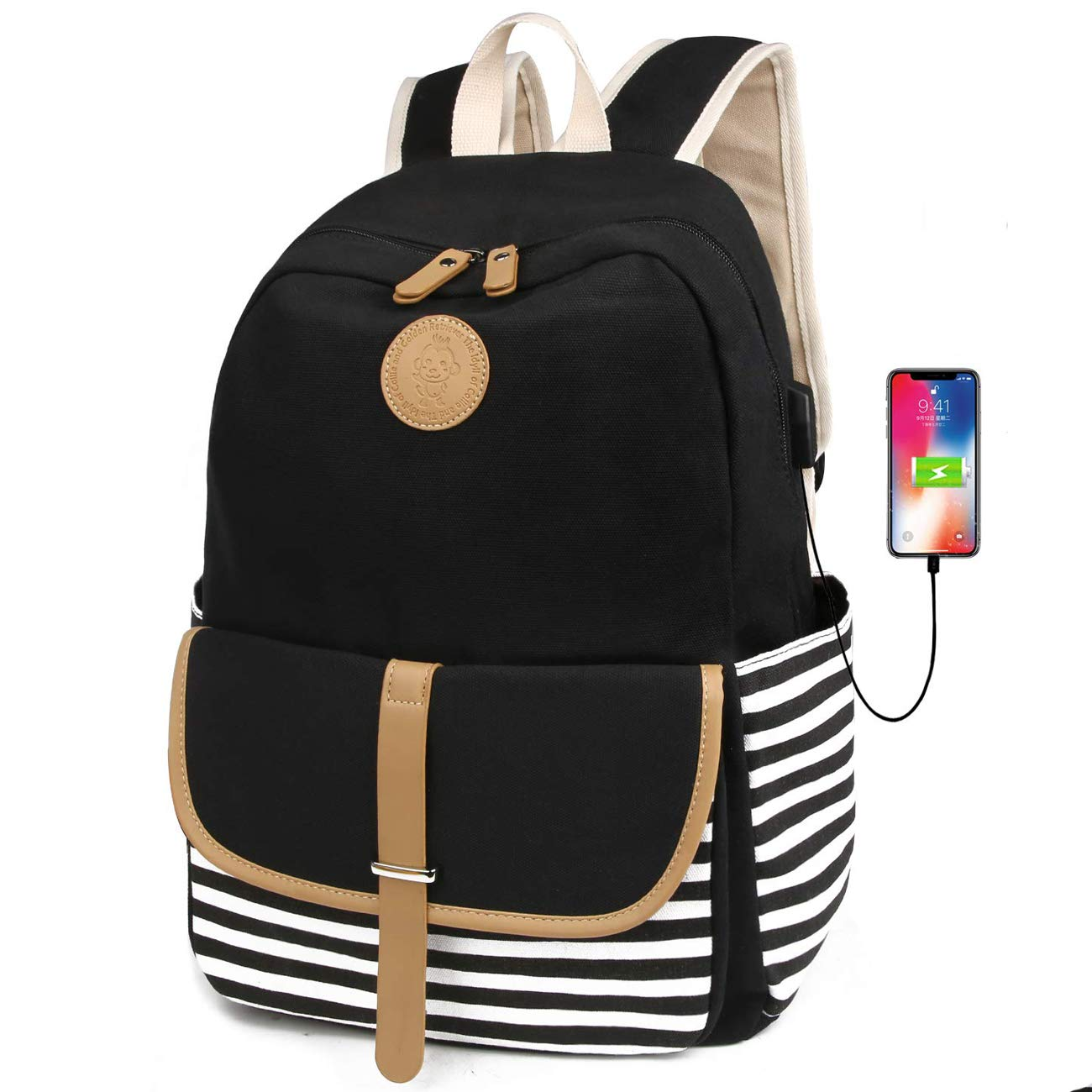 FLYMEI Canvas Laptop Bag Cute School Backpack College Bookbag Shoulder Daypack Casual Travel Bags with USB Charging Port for Teen Girls and Women by FLYMEI