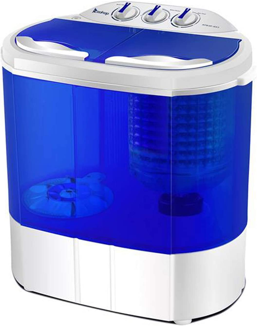 Portable Washer Compact Twin Tub 10.4 Lbs Mini Top Load Washing Machine Washer/Spinner(White & Blue)