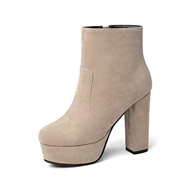 ddbfa4eed0 wetkiss 10 Colors Fashion Women Ankle Bootie Thick High Heel Shoes Autumn  Winter Lady Platform Booties
