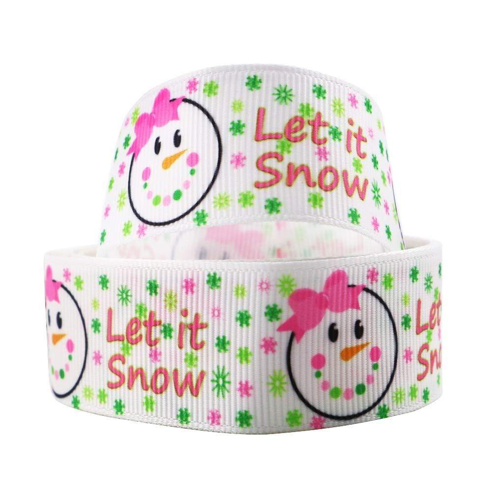 "Christmas Snowman Printed Grosgrain Ribbon DIY Crafts Materials 5Yards 1/"" 25mm"