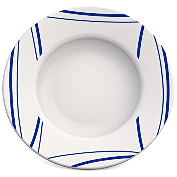 robustes Alltags-Geschirr Dessertteller Camping Fr/ühst/ücksteller Picknick hochwertiger Gemeinschaftsverpflegung stabiler Kunststoffteller Ornamin Teller flach /Ø 19,5 cm Schilf blau Melamin