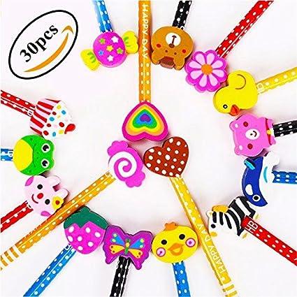 Lápices Infantiles Con Borrador De Dibujos Multicolores 30 Pcs Kimko Lápices Para Niños Regalos Para Fiestas Cumpleaños Premios Escolares