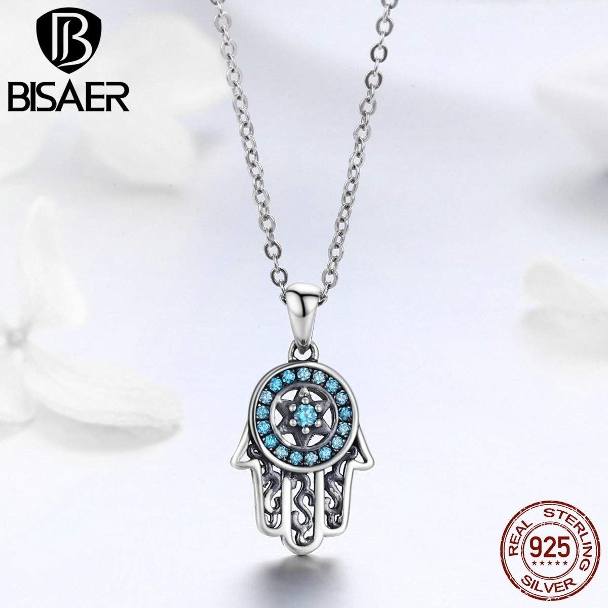 Davitu Authentic 925 Sterling Silver Lucky Hamsa Hand Long Necklaces Pendants Fatima Hand Necklace Women Jewelry bijoux Collar ECN264