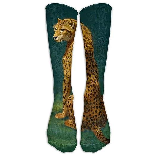 Amazon com: Men Women Leopard Staring Long Socks Novelty