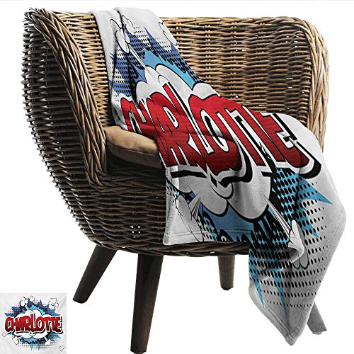 - Home Throw Blanket Charlotte Female Name with French Origins in Retro Cartoon Design Explosion Effect and Dots All Season Premium Bed Blanket W60 xL80 Sofa,Picnic,Camping,Beach,Everyday use