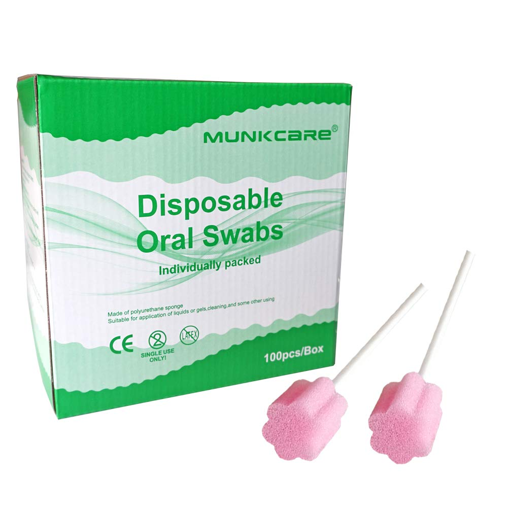 MUNKCARE Disposable Medical Mouth Swabs- Untreated and Unflavored, box of 100 counts (Pink)
