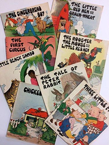 Platt & Munk 3100 A-H Series (8 books) Chicken Little, Little Black Sambo, First Circus, Gingerbread Boy, Little Red Hen & Grain of Wheat, Rooster Mouse & Little Red Hen, Peter Rabbit, 3 Little Pigs