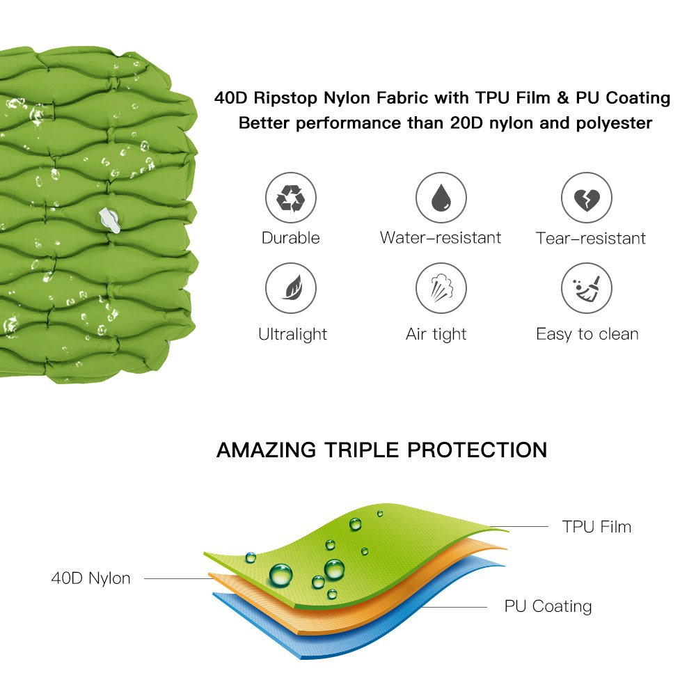 TOMSHOO Camping Mat Outdoor with Pillow Ultra-Light Portable 2 Person Mattress Inflatable Mat Double Sleeping Pad Moisture-Proof Pad (Green) by TOMSHOO