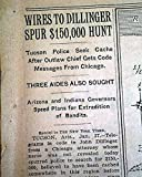 Bank Robber Outlaw JOHN DILLINGER Capture in Tucson AZ Arizona 1934 Newspaper THE NEW YORK TIMES, January 28, 1934