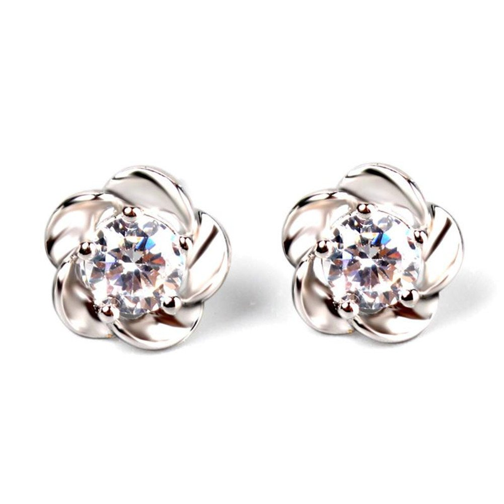 HITTIME Fashion Sterling Silver Platinum Plated Crystal Flower Ear stud Earrings