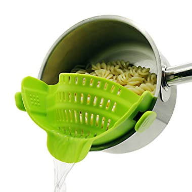 Clip on Strainer for pots pans, Snap on Strainer Made by FDA Approved, Heat Resistant Silicone, Easy to Use and Store,Dishwasher SafE (Green)