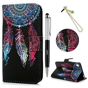 Sony Xperia XA Funda, Lanveni® Elegante Case Cover de cuero PU Piel para Sony Xperia XA con cierre magnético y función de soporte - Patrón Dreamcatcher Diseño + lápiz capacitivo + Enchufe anti del polvo