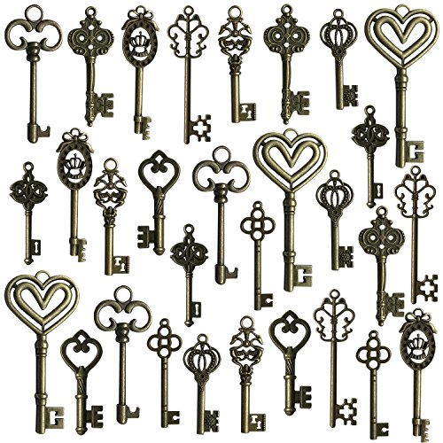Hibery Mixed Set of 30 Antique Bronze Vintage Skeleton Keys - Decorative Old Fashioned Key for Necklace Bracelets Pendants Jewelry DIY Making Supplies Party Favors - 10 Different Style ()
