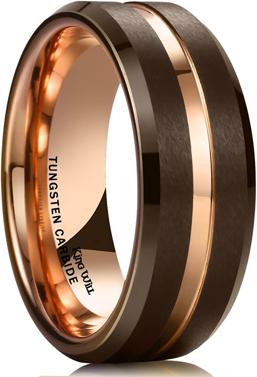 King Will Duo 8mm Brown Brushed Tungsten Carbide Wedding Band Ring Thin Rose Gold Groove Comfort Fit