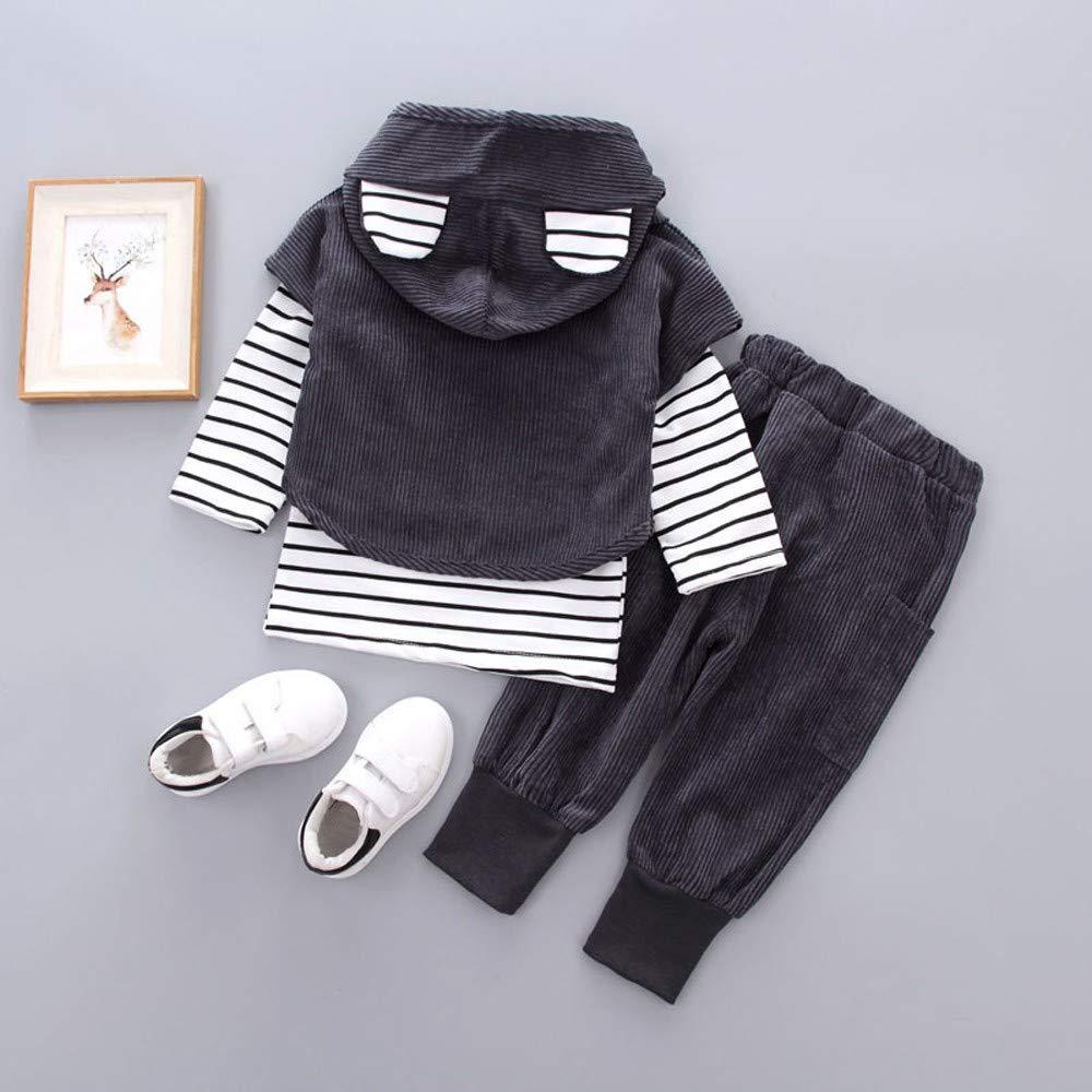 Hosen Unisex Set Streifen Print Blusen XXYsm Baby Kapuzenpullover Outfits Hoodie M/ädchen Jungen Sweatshirt Mit Kapuze mit Ohren