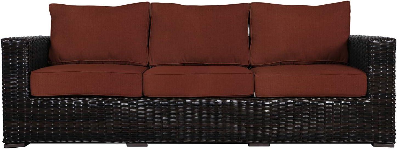 Amazon Com Envelor Santa Monica Outdoor Patio Furniture Sofa Chair Lightweight Wicker Rattan Base Includes Henna Sunbrella Cushions Garden Outdoor