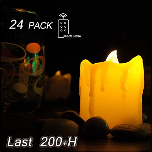 Flameless LED Votive Tealight Candles with Remote – 24 Value Pack Battery Operated Tea Lights for Halloween Jack O Lantern Pumpkin Thanksgiving Christmas Wedding Party Decorations Table Centerpieces