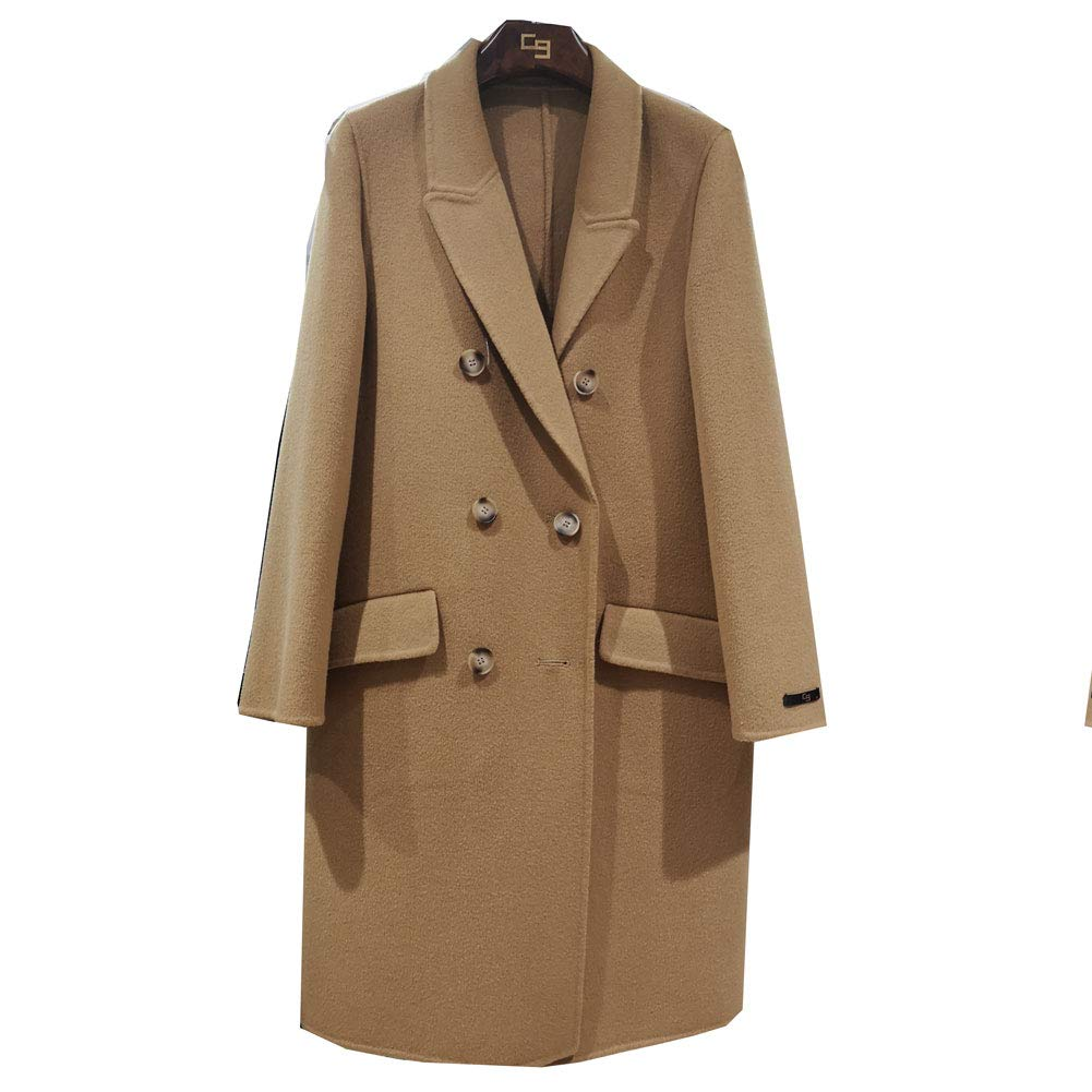 CG Women Elegant Wool Cape Lapel Collar Coat Thick Woolen Trench Overcoat with Pocket 890G075 (Camel, XL)