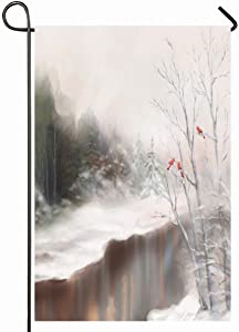 Ahawoso Outdoor Garden Flag 12x18 Inches Cold Pink Painting Winter Watercolor Snowy Scene Nature Snow Bird Tree Christmas Aquarelle December Seasonal Home Decorative House Yard Sign
