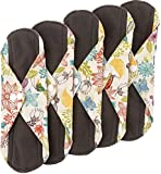 Wegreeco Bamboo Reusable Sanitary Pads - Cloth Sanitary Pads - Pack of 5 (Small, Camellia Beauty)