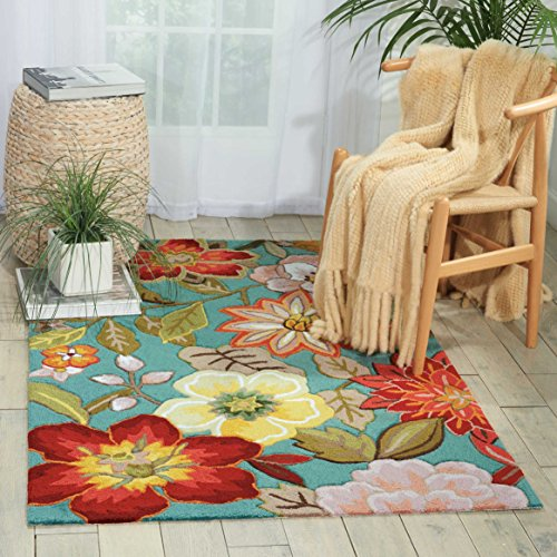 Nourison Fantasy (FA18) Aqua Rectangle Area Rug, 3-Feet 6-Inches by 5-Feet 6-Inches (3'6