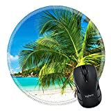 MSD Natural Rubber Mousepad Round Mouse Pad/Mat: 37258772 Beautiful beach with palm tree at Seychelles Praslin Cote d Or