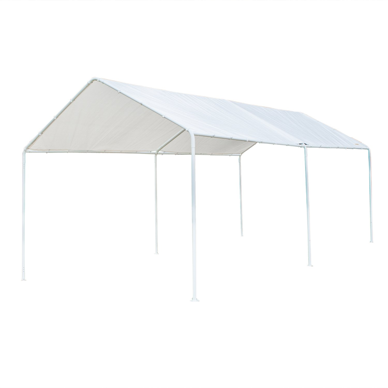 Upgraded Steady Steel Panels and Parts,Versatile Garage Vehicle Shelter VINGLI 10 x 20 Heavy Duty Carport Car Canopy Elegant Simplicity Style Car Park Anti UV Waterproof White