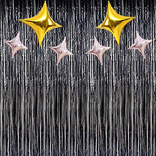 BUSOHA Foil Metallic Curtains - (Black) Fringe Curtains Tinsel Metallic with Four Horns Star Balloons Photo Backdrop for Halloween Wedding Birthday Party Stage Decor
