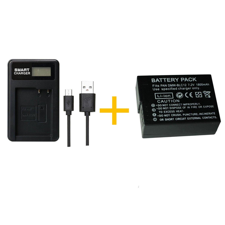 DMC-GX8 1 unids 1800 mAh DMW-BLC12 DMWBLC12 Bater/ía con Cargador de Bater/ía para Panasonic Lumix FZ1000 FZ300 G5 G7 1 pcs Battery with Charger FZ200 GH2 G6