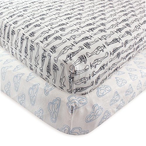 Hudson Baby 2 Piece Cotton Fitted Crib Sheet, Airplane, One Size (Airplane Crib)