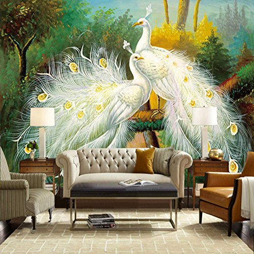 ... Colomac Wall Mural Beautiful Elegant Noble White Peacock Forest  Landscape Mural Suitable For Living Room Bedroom