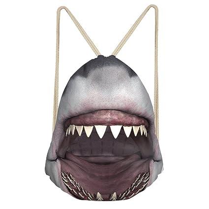 showudesigns personalizada Diseño Animal Cordón Mochila Hombres Mujeres Cinch gimnasio bolsas, Infantil, tiburón,