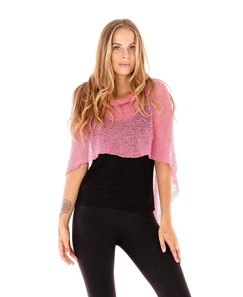 SHU-SHI Womens Sheer Poncho Shrug Lightweight Knit Fuchsia One Size Fits Most
