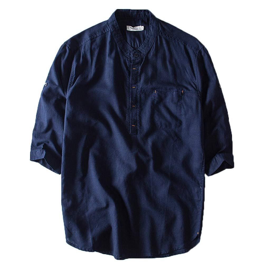 Mens Casual Linen Shirt Tronet Men's Causal Shirt Short Sleeve Top Button Cotton Linen Solid Color Loose Blouse
