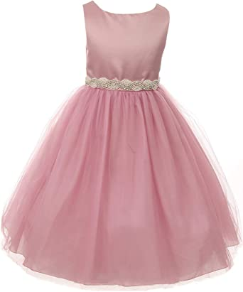 Flower Girls Dress Lace Rhinestones Pageant Wedding Easter Christmas Party Baby