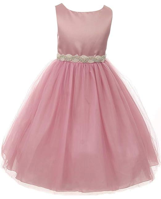 Amazon.com Little Girls Dress Satin Pearl Rhinestones Tulle