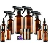 Glass Spray Bottle Kits, Eternal Moment Amber Glass Spray Bottle Set for Aromatherapy Cleaning Products (16OZ, 8OZ, 4OZ, 2OZ Essential Oil Bottle, 2OZ Dropper Bottle) x 2, 10 ml Roller Bottle x 4