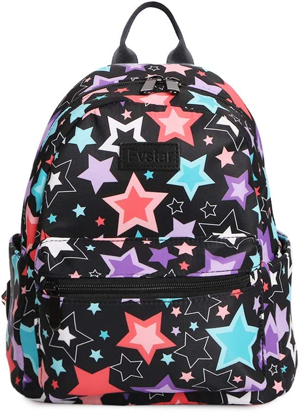 Fvstar Girls Mini Backpck Purse Water Resistant Canvas Travel Backpack Purse Teens Satchel Women Rucksack for Gym and Camping,Star