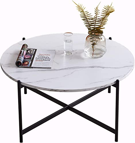 Function Home 36 Modern Round Coffee Table,Easy Assembly Tea Table