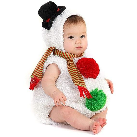 Brillanto Disfraz de Navidad Bebe Niños Mono Monigote de Nieve + Bufanda Traje Ropa Bebe Niña 0-24 Meses