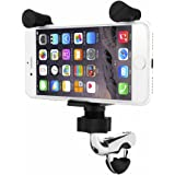 Aileap Motorcycle Handlebar Phone Mount Universal K-Style Motorbike Harley Phone Holder with Chrome Coated Base and USB Charger for iPhone, Samsung, GPS
