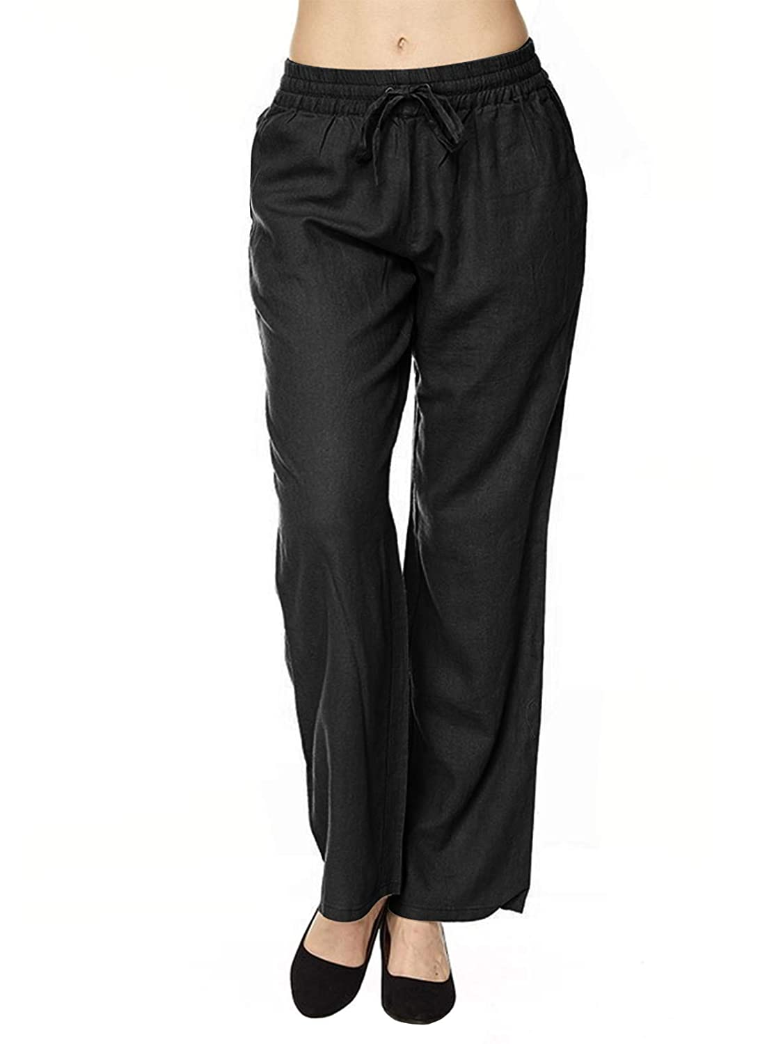 Ipaw002 Black Instar Mode Women's Comfy Drawstring Linen Pants with Pocket (S3XL)